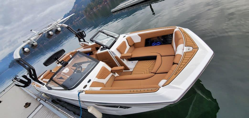 2021 super air nautique surf boat rental g25 coeur dalene exterior bow view